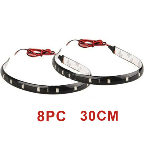 8X 30cm 15 SMD Red LED Car Auto Flexible Grill Light Lamp Strip Waterproof 12V