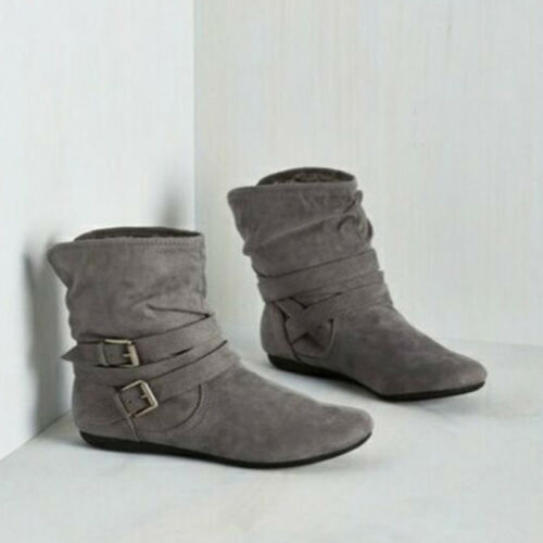Women Winter Warm Round Toe Slouch Flat Heel Boots Casual Comfy Fur Ankle Boots