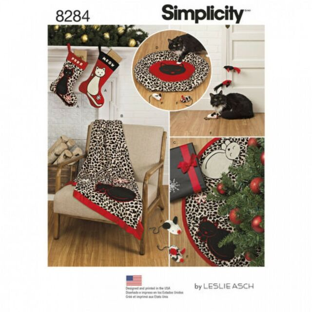 Simplicity Home Easy Sewing Pattern 8284 Christmas Stocking Tree Skirt Thro...