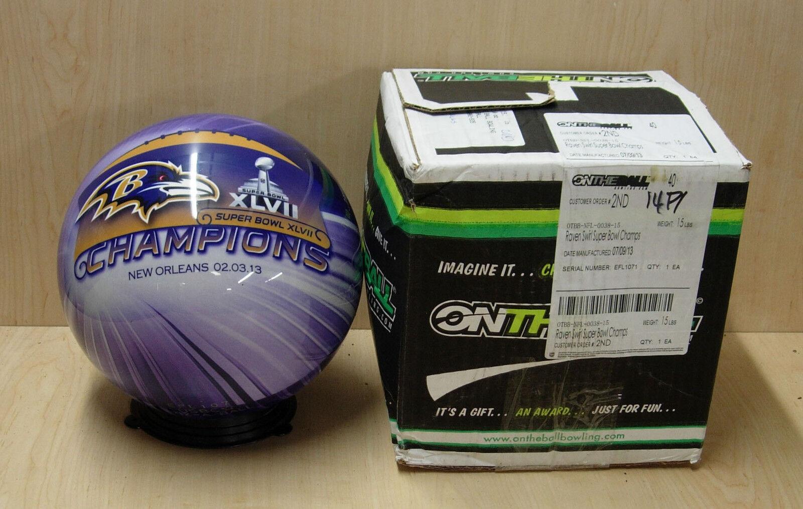 = 15NIB Bowling Ball ON THE BALL BOWLING 2nd RAVENS SUPER BOWL 2013 CHAMPIONS