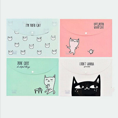 """""""Lazy Cats"""" File Folder Pack of 4 One Layer A4 Cute Plastic Document Study Bag"""