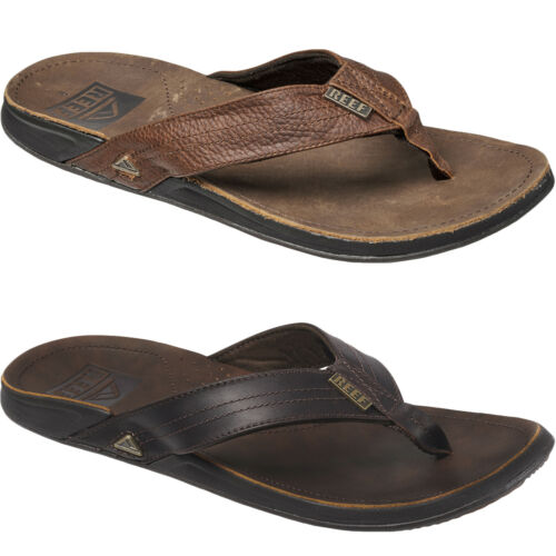 Reef Mens J-Bay III Leather Summer Beach Flip Flops Sandals 7 UK Camel
