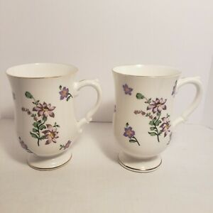 Vintage Royal Victoria Fine Bone China Footed Coffee Tea Cups