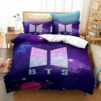 1 Quilt Cover BTS Bedding Set 3Pcs Microfiber Cartoon Duvet Cover Sets for Boys Girls Teens ZXX 2 Pillowcase