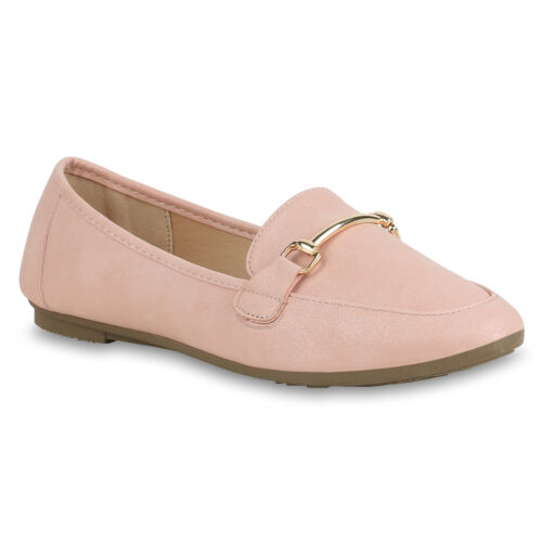 Damen Slippers Loafers Leder-Optik Slip On Freizeitschuhe 830481 Trendy Neu