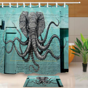 Elephant Octopus Drawing On Wall Bathroom Shower Curtain Set With