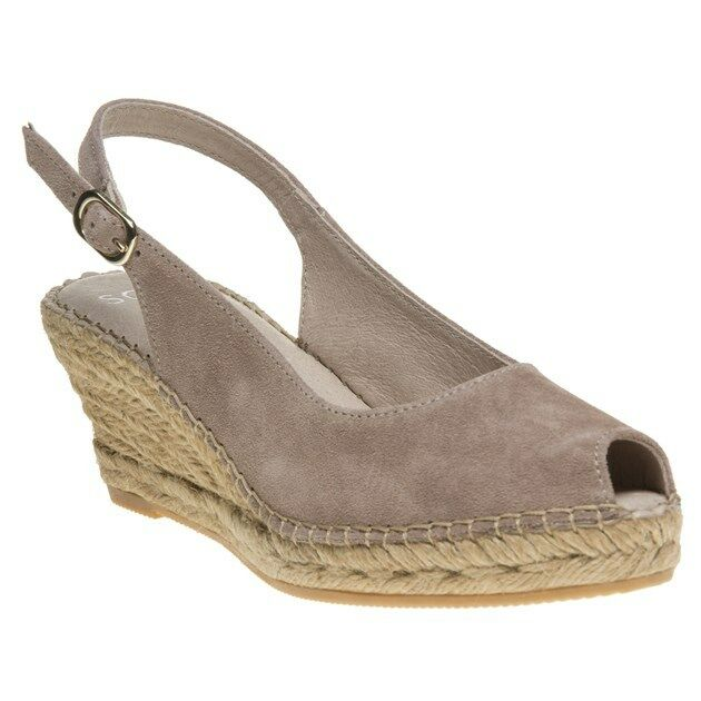 New Damenschuhe SOLE Taupe Natural Sidra Suede Sandale Espadrilles Buckle Slip On