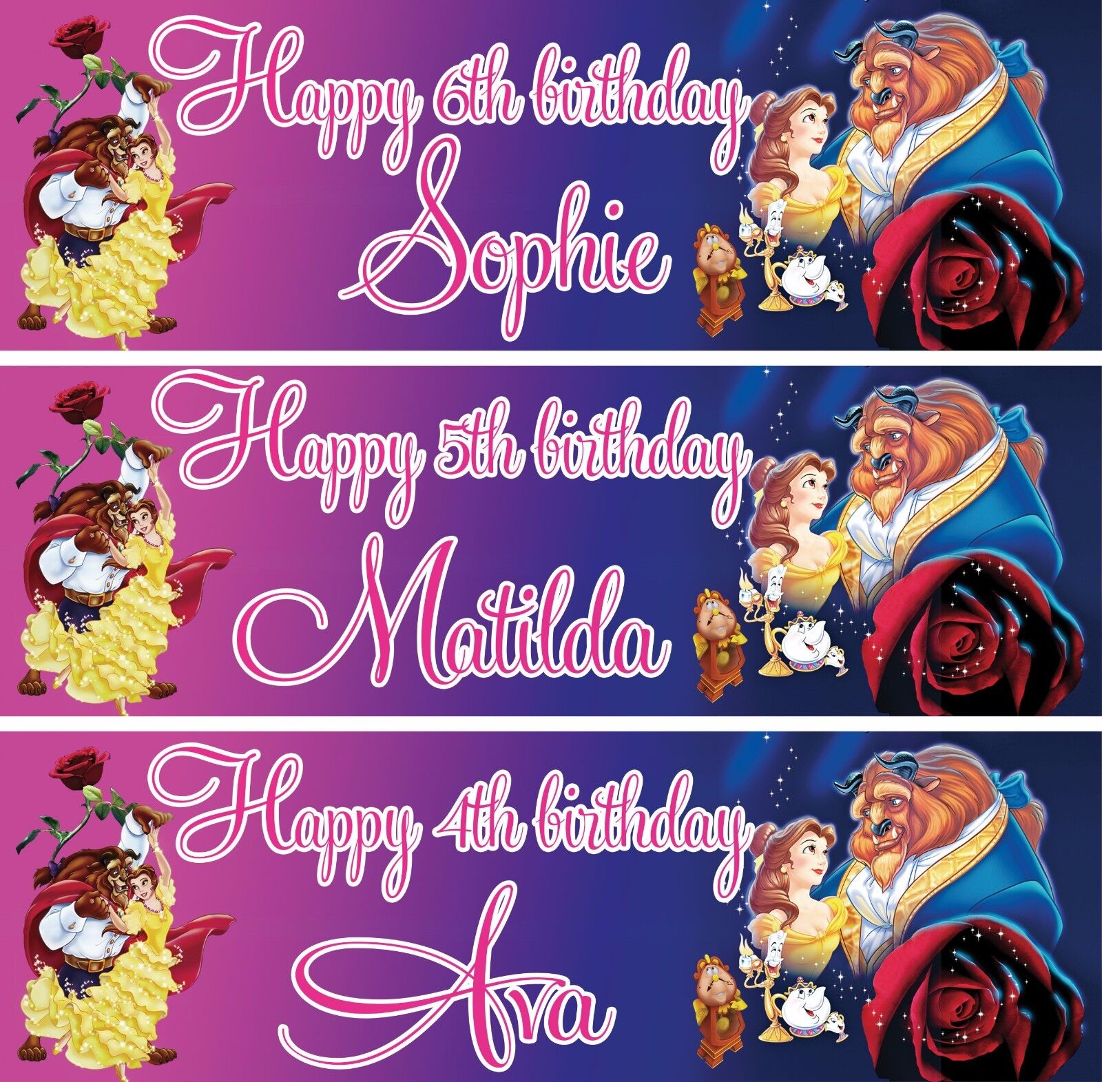 Personalised Beauty and the Beast Birthday Banners Various Designs