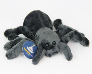 Stofftier-Spinne-schwarz-grau-Kuscheltier-Plueschtier-Breite-ca-21cm