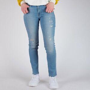 Levi-039-s-711-Skinny-Hellblau-Distressed-Damen-Jeans-33-30