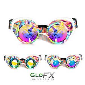 glofx kandi swirl kaleidoscope goggles real glass rainbow crystals