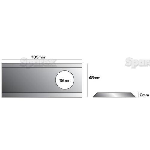 Hojas de cortacésped rotativo Claas 904.1778.8 R//H 105mm X 48.3mm X 0.19mm