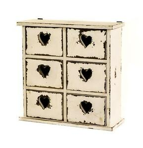Antique-White-Wooden-Table-Top-6-Drawer-Storage-Unit-Chest-with-Heart-Hole-Pulls