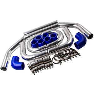 2.5 inch 64mm Universal Aluminum Intercooler Turbo Piping Kit+ Silicone+Clamp