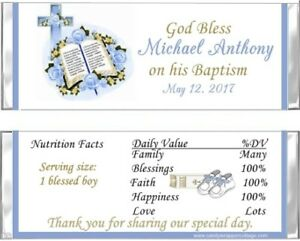 Details about 20 BIBLE ROSES BAPTISM CHRISTENING Personalized CANDY  WRAPPERS FAVORS pink blue