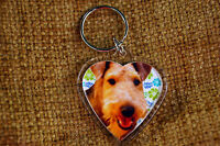 Airedale Terrier Gift Keyring Dog Key Ring heart shaped Birthday Gift