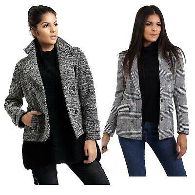 Acquista A Buon Mercato Women's Nuovo Effetto Tweed Pulsante Apri Giacche Grigio Design Classico Blazer Cappotti-mostra Il Titolo Originale