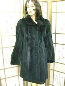 Excellent Fur Sheared Blue Women Coat Sz 6 8 Raccoon qrtrU