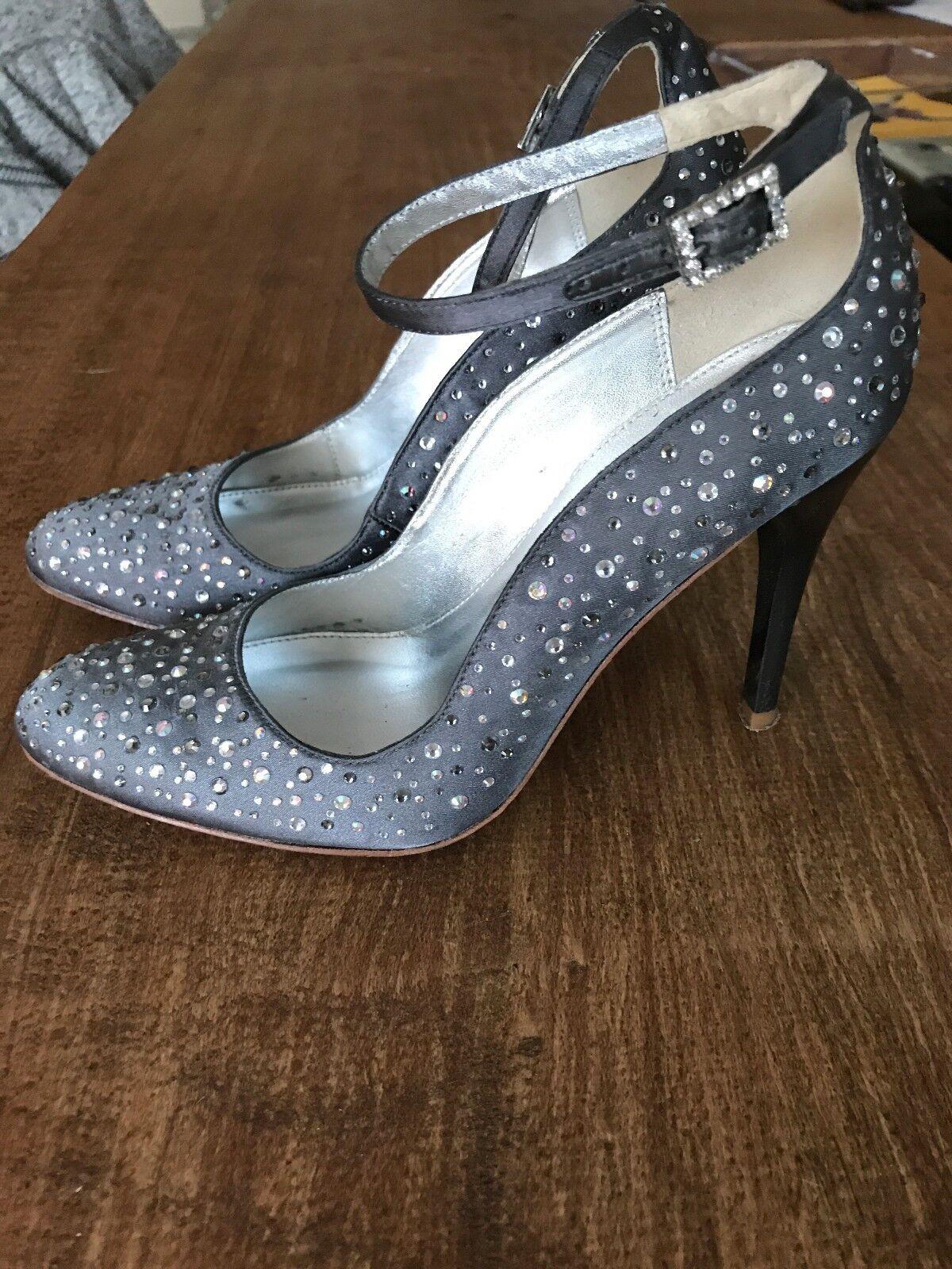 Karen Millen Grey satin sparkly studded shoes EU36