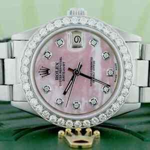 Rolex-Datejust-Midsize-31mm-Womens-Oyster-w-Pink-MOP-Diamond-Dial-amp-1-52Ct-Bezel