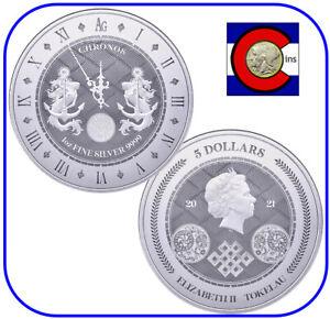 2021 Tokelau Chronos $5 1 oz BU Silver Coin in capsule - Pressburg Mint