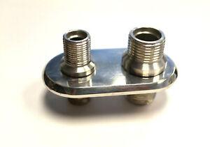 Firewall-Bulkhead-AC-Heater-Fitting-Polished-Aluminum-Billet-2-Port-Inline