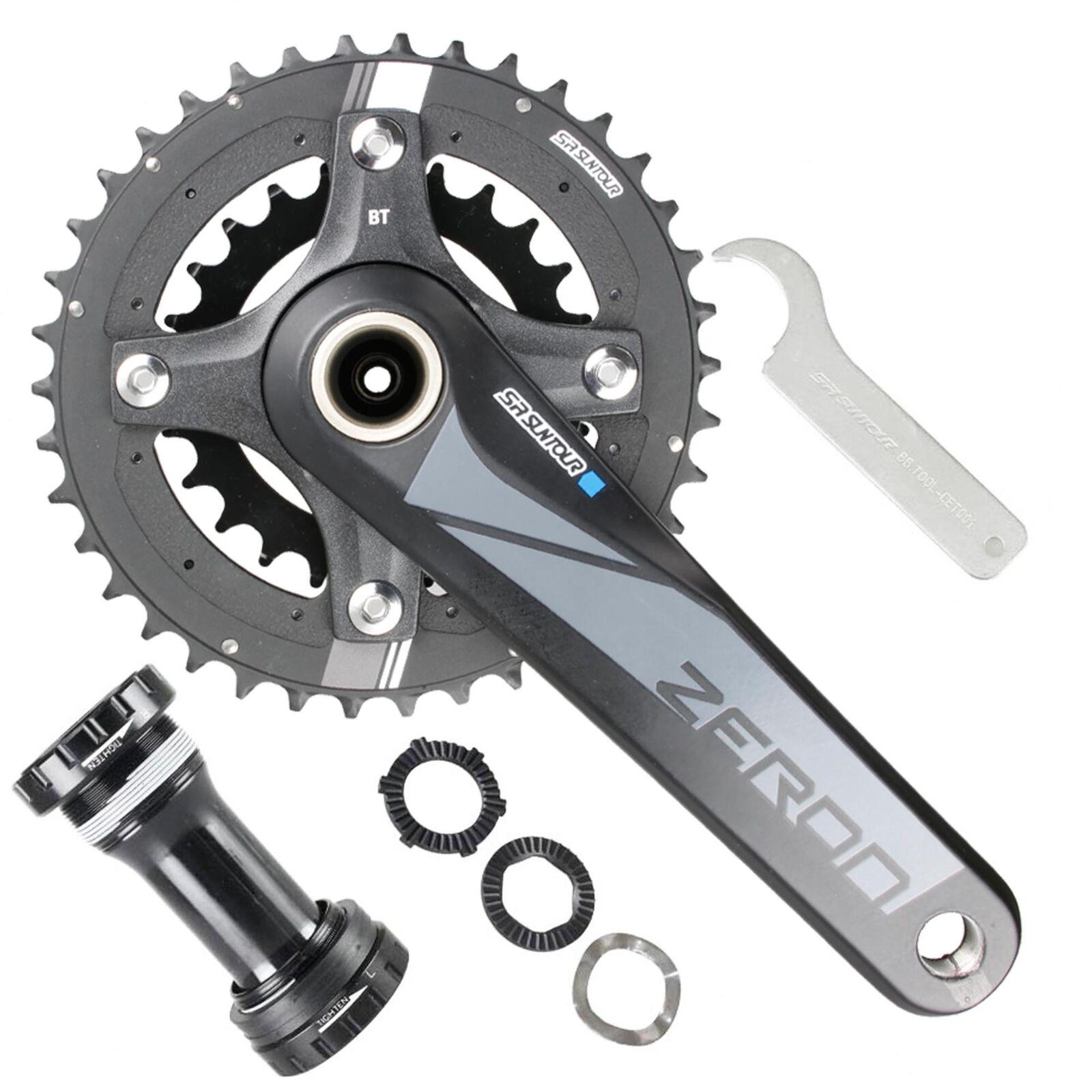 SR Suntour Road Racing Bike Crankset Zeron 2X 24-38T 175mm with BB 10 Speed