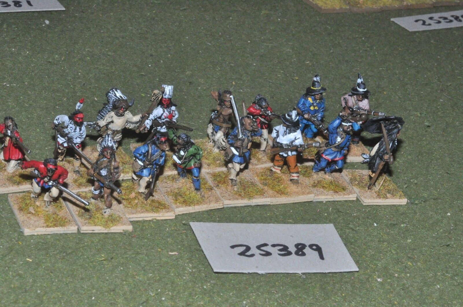 25mm ACW   old west - indian 16 figures - inf (25389)