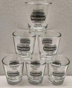 Bushmills-Irish-Honey-Logo-Clear-Glassware-Matching-Set-of-6-Shot-Glass-Glasses