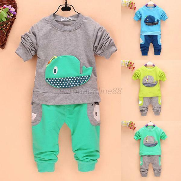 Sweet Cute Kids Baby Boys Long Sleeve Tops+Long Pants Whale Clothing Outfits New