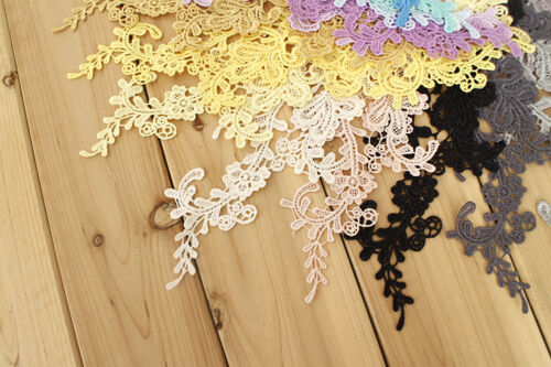 2 X Large Delicate Chemical Lace Patch Floral Embroidered Trim Applique 33*10cm