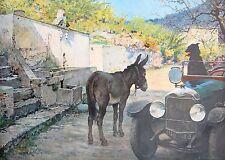 AUTOMOBILE Peugeot Torpedo 1924 & tête à tête âne chien estampe Sabatier