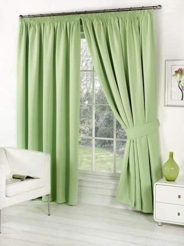 Fausse soie entièrement doublés rideaux crayon plis ou à œillets et libre tiebacks