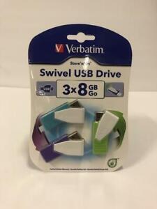 Green Verbatim 98426 8GB Swivel USB Flash Drive Blue 3pk Violet