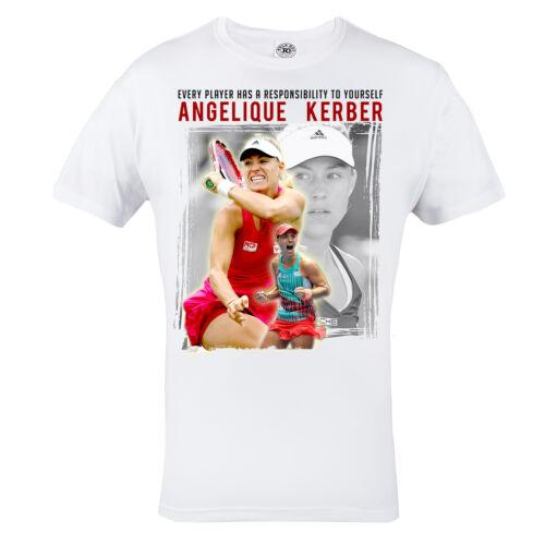 Angelique Kerber Tennis Tshirt Mens White 100/% Cotton Tennis T-shirt Top Tee