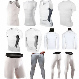 Men-White-Compression-Base-Layer-Sports-Running-Fitness-Vest-Tops-Shorts-Pants