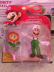 RARE-JAKKS-Super-Mario-World-of-Nintendo-Luigi-amp-BONUS-Fire-Flower-Figure-2-5-034
