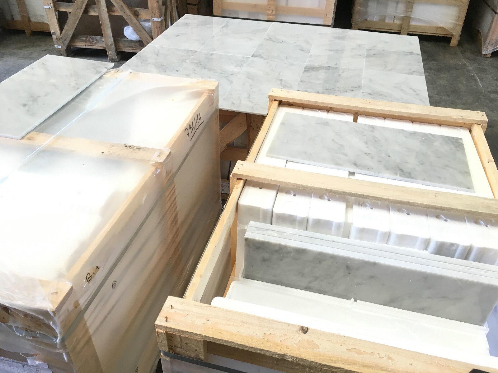 Bianco Carrara, Polished Polished Polished Marble Tile, Floor & Wall Tiles, 12x24
