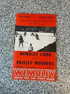 Wembley Empire Pool - Wembley Lions - Ice Hockey Programme 11/03/1967
