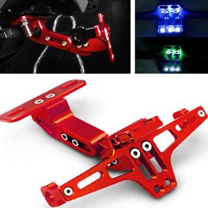 Motorraeder-Einstellbare-Kennzeichenhalter-Halterung-LED-Licht-Aluminiumlegierung