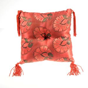 Poppy-Singing-Bowl-Pillow-Cushion-8in-Handmade-Red-Silk-Brocade-Nepal-A075-01