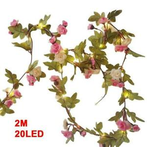 2M-20-LED-Flower-String-Fairy-Lights-Vine-Wedding-amp-Hanging-Garland-Home-Z7P1