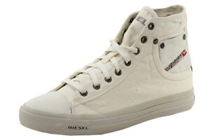 Diesel-Men-039-s-Exposure-I-Fashion-White-Canvas-High-Top-Sneaker-Shoes-Sz-10
