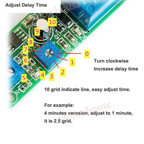 DC 5v 12v Ajustable 0 ~ 200s tiempo de Retardo Interruptor Turn On Board Módulo de Relé Temporizador