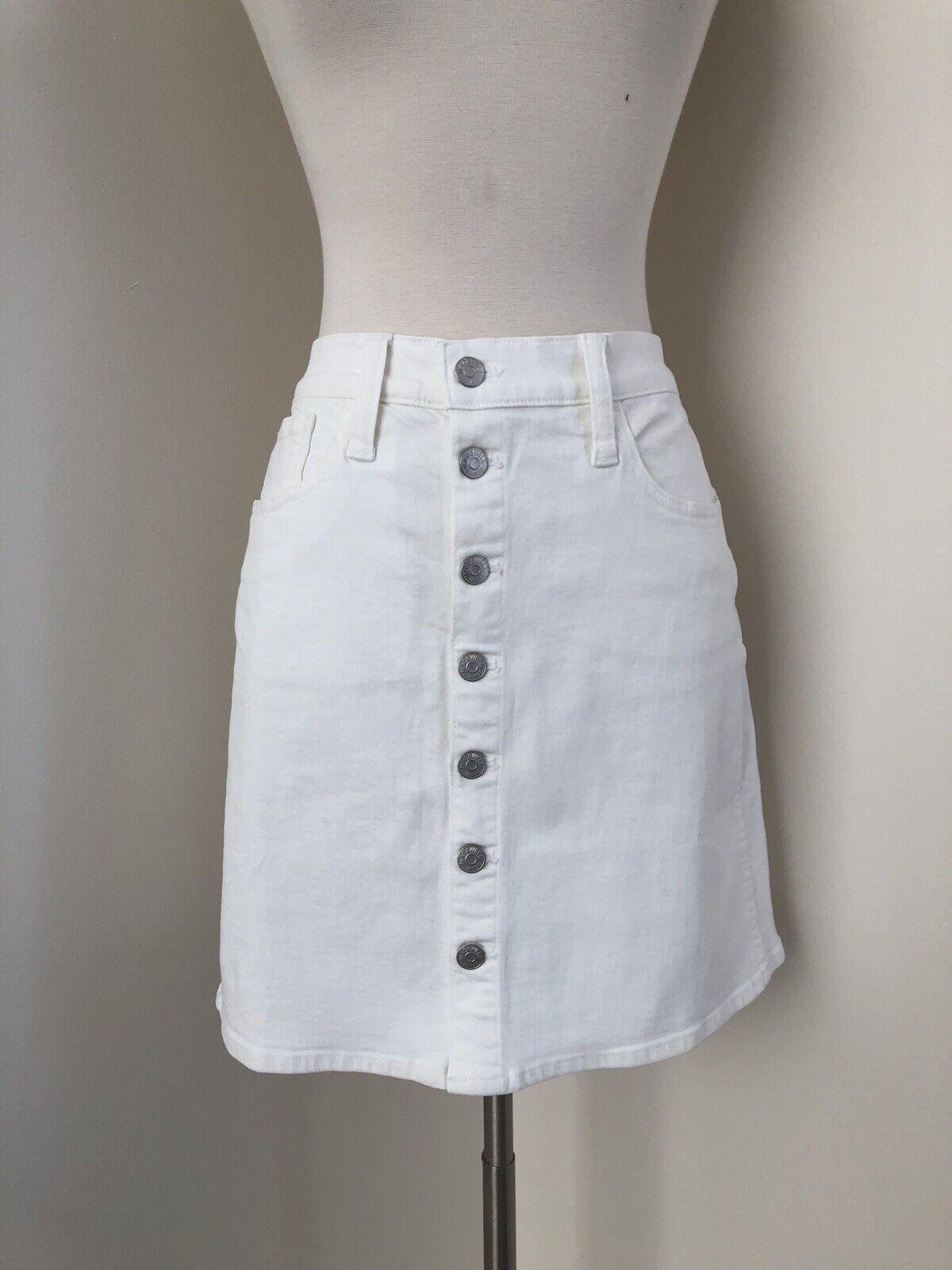 Madewell Stretch Denis Straight Mini kjol Button - Front Edition 29 J0563 vit