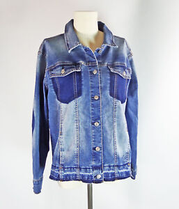 Kensie-Jeans-Denim-Jacket-L-Color-Block-Womens-Western-Ombre-Blue