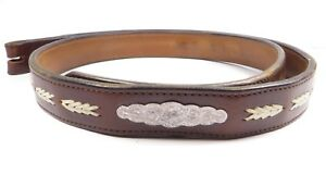 VINTAGE-WESTERN-LEATHER-BELT-ENGRAVED-SILVER-PLATED-ACCENT-CODY-WYOMING-SZ-34