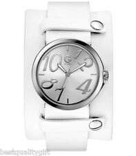 NEW-GUESS CONVERTIBLE MULTI-LEATHER STRAP/BAND+SILVER-TONE DIAL WATCH-G89055L1