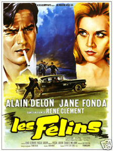 Les-felins-Alain-Delon-Jane-Fonda-vintage-movie-poster