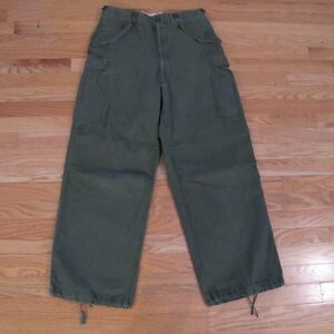 VINTAGE-ORIGINAL-TROUSERS-SHELL-FIELD-M-1951-M51-KOREAN-WAR-W33-L28-OD-107